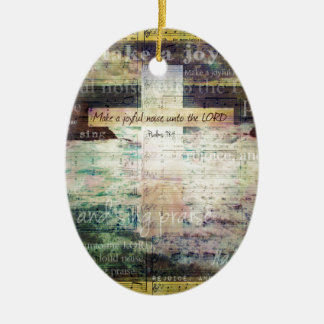 Make a joyful noise unto the LORD - Bible Verse Christmas Tree Ornament