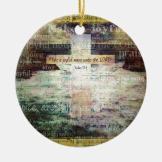 Make a joyful noise unto the LORD - Bible Verse Christmas Ornament