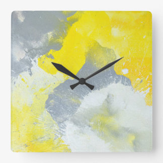 'Make A Mess' Grey and Yellow Abstract Art Clock