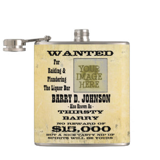 Make a personalized Western Wanted Poster Hip Flask