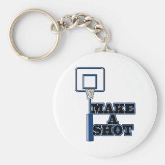 make a shot basetball net basic round button key ring