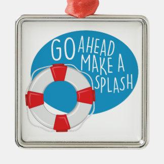 Make A Splash Silver-Colored Square Decoration