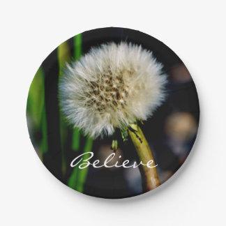 Make a Wish, Believe, Dandelion 7 Inch Paper Plate
