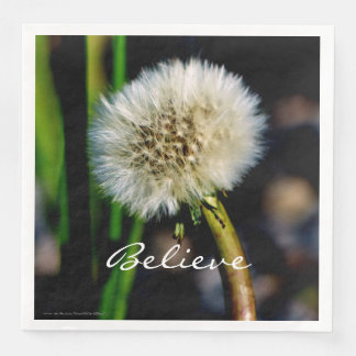 Make a Wish, Believe, Dandelion Disposable Serviette