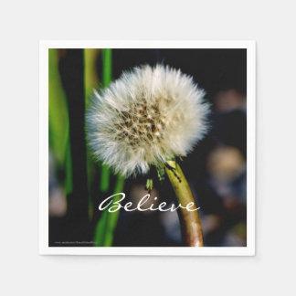 Make a Wish, Believe, Dandelion Disposable Serviette