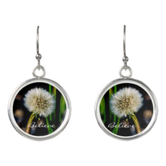 Make a Wish, Believe, Dandelion Earrings