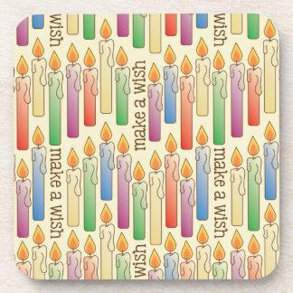 """Make a Wish"" Birthday Candles Cork Coaster Set"