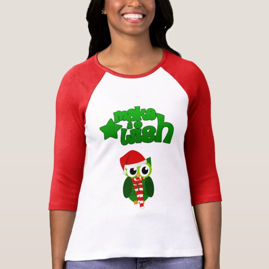 Make a wish christmas owl with a red hat design T-Shirt