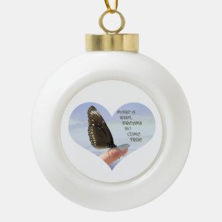 Make a wish Dreams come true Ceramic Ball Christmas Ornament