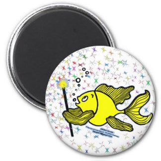 Make a wish Fish 6 Cm Round Magnet
