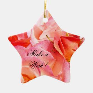 Make a Wish ornaments Pink Roses Holidays