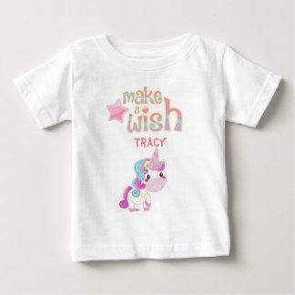Make a wish unicorn party cartoon design baby T-Shirt
