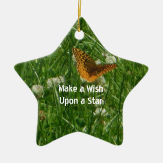 Make a Wish Upon a Star Butterfly Ceramic Star Decoration