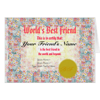 Make a World s Best Friend Certificate Greeting Card