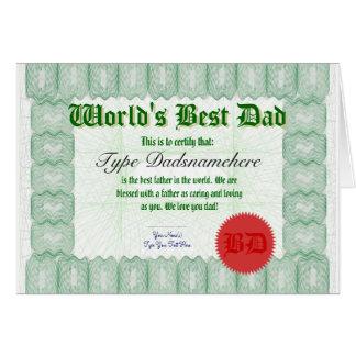 Make a World's Best Dad Certicate Award Card
