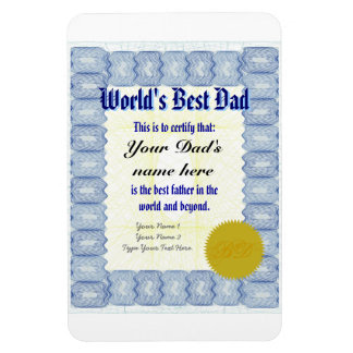Make a World's Best Dad Certificate Magnet