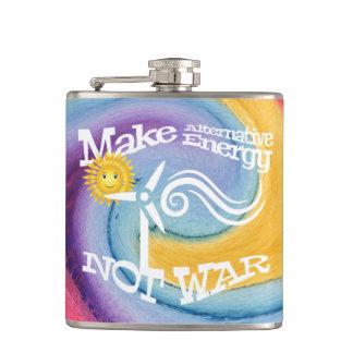 Make Alternative Energy Not War Hip Flask