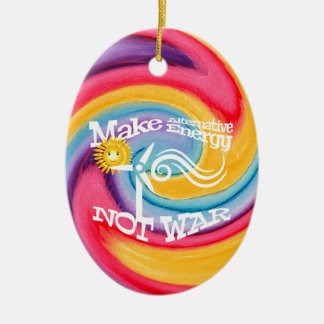Make Alternative Energy Not War Tie Dye Ceramic Oval Decoration
