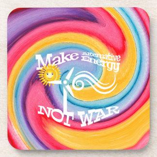 Make Alternative Energy Not War Tie Dye Coaster