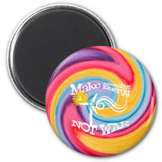 Make Alternative Energy Not War Tie Dye Magnet