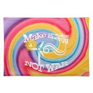 Make Alternative Energy Not War Tie Dye Placemat