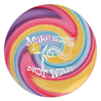 Make Alternative Energy Not War Tie Dye Plate