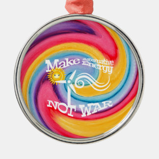 Make Alternative Energy Not War Tie Dye Silver-Colored Round Decoration