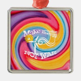 Make Alternative Energy Not War Tie Dye Silver-Colored Square Decoration