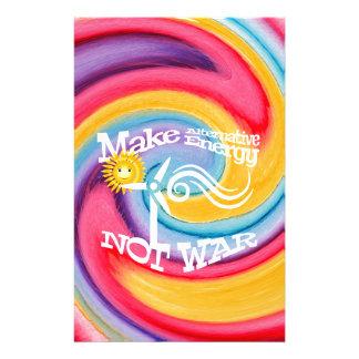 Make Alternative Energy Not War Tie Dye Stationery