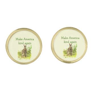 Make America Kind Again Bunny Rabbit Cufflinks Gold Finish Cufflinks
