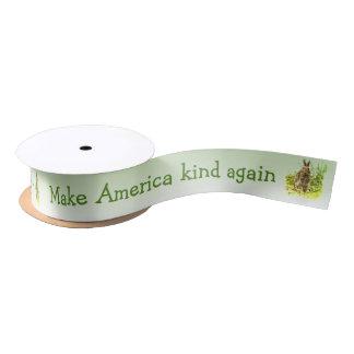 Make America Kind Again Bunny Rabbit Ribbon Satin Ribbon