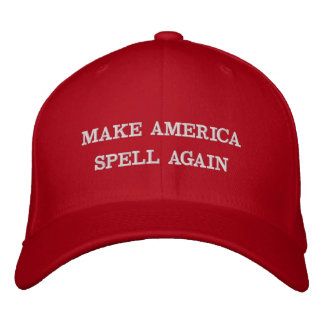 MAKE AMERICA SPELL AGAIN #covfefe | funny red wool Embroidered Hat