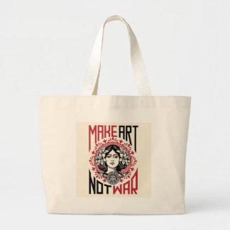 make art not war large tote bag