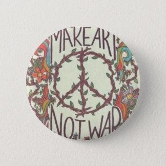 MAKE ART NOT WAR swipes in 6 Cm Round Badge