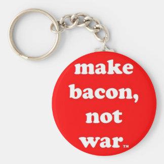 make bacon, not war keychain