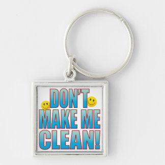 Make Clean Life B Silver-Colored Square Key Ring