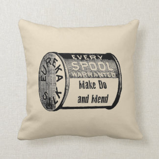 Make Do and Mend Vintage Style Throw Pillow