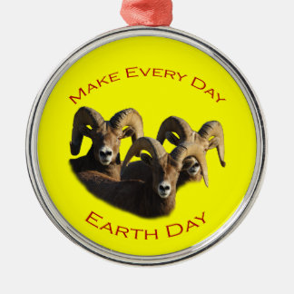 Make Every Day Earth Day Silver-Colored Round Decoration