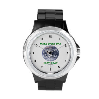 Make Everyday Earth Day (Blue Marble Earth) Wristwatch