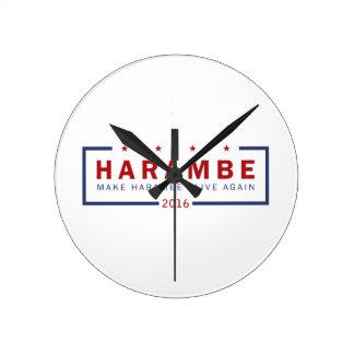 Make Harambe Alive Again Round Clock