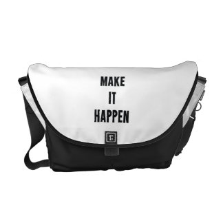 Make It Happen Inspirational White Black Messenger Bags