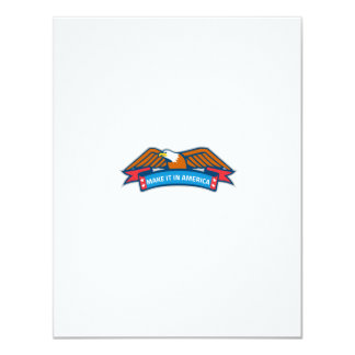 Make It In America Banner Eagle Retro 11 Cm X 14 Cm Invitation Card