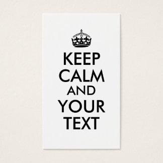 Make Keep Calm Business Cards Add Your Text Custom