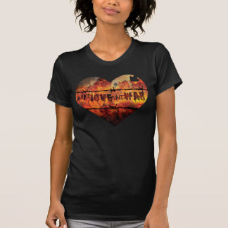 Make Love AND War Heart Logo on Ladies Destroyed T T-shirt