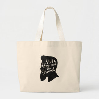 Make love not the beard - silhouette large tote bag