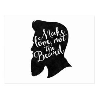 Make love not the beard - silhouette postcard