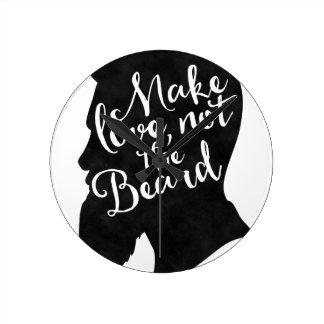 Make love not the beard - silhouette round clock