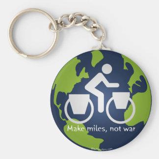 Make miles, not war basic round button key ring