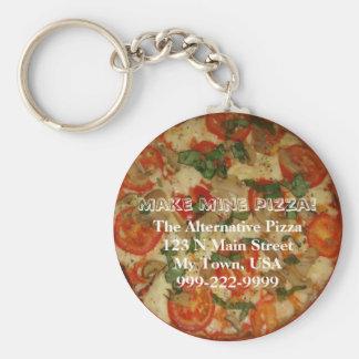 Make Mine Pizza! Customizable Text Key Ring