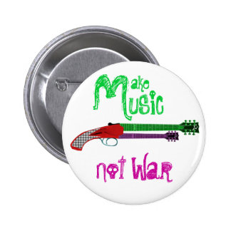 Make Music Not War 6 Cm Round Badge